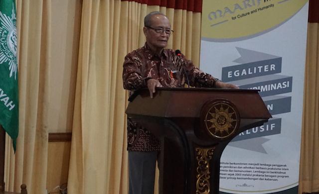 Ahmad Syafii Maarif, pendiri Maarif Institute dan mantan ketua PP Muhammadiyah, menegaskan bahwa Islam tidak mengajarkan kekerasan. Foto oleh Rika Kurniawati/Rappler.