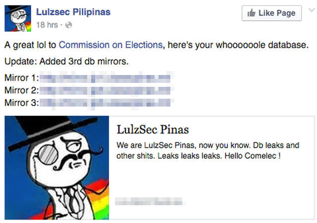 LULZSEC PILIPINAS. The Lulzsec Pilipinas Facebook page makes a post about their data leak. Screen shot from Facebook.