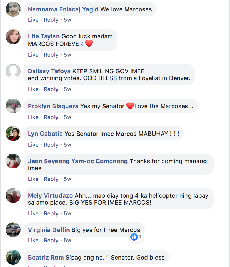 Comments on a post on Imee Marcos's official Facebook page.