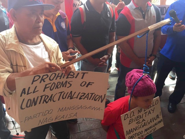 NO CONTRACTUALIZATION. Labor groups want all forms of contractualization to be prohibited. Photo by Patty Pasion/Rappler