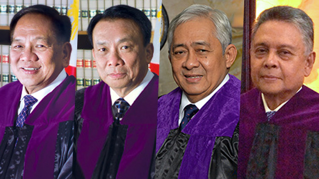 SC JUSTICES. Chief Justice Maria Lourdes Sereno claims that (left to right) Associate Justices Diosdado Peralta, Lucas Bersamin, Francis Jardeleza, and Noel Tijam cannot be impartial in the quo warranto petition filed against her. Photos from the Supreme Court