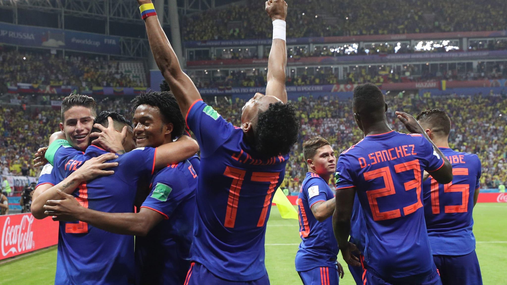 MENANG. Kolombia merayakan kemenangan mereka atas Polandia dengan skor 3-0. Foto dari FIFA.com