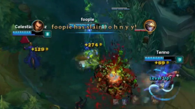 u201cGet dunked!u201d AZE.foopie Teleports to the botlane and executes both bot laners of APC Rams with his Noxian Guillotine.