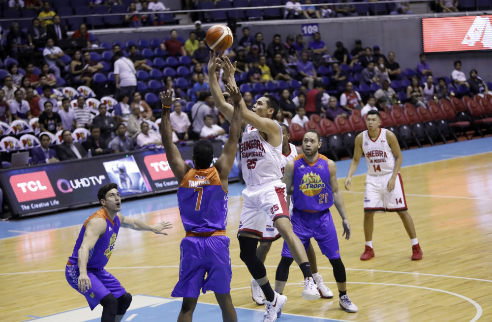ALIVE. The top-seeded Barangay Ginebra avoids a sweep as they came back with a win in Game 3 after suffering two consecutive losses from TNT. Photo by PBA Images