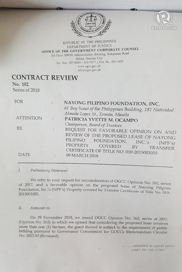 First page of the OGCC's legal review of the NayonLanding lease contract sourced by Rappler