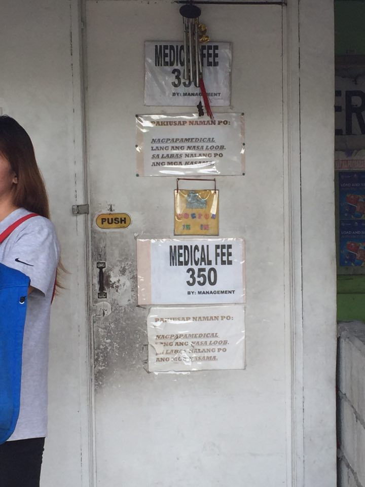 MEDICAL FEE. P350 for basic check up is insane.