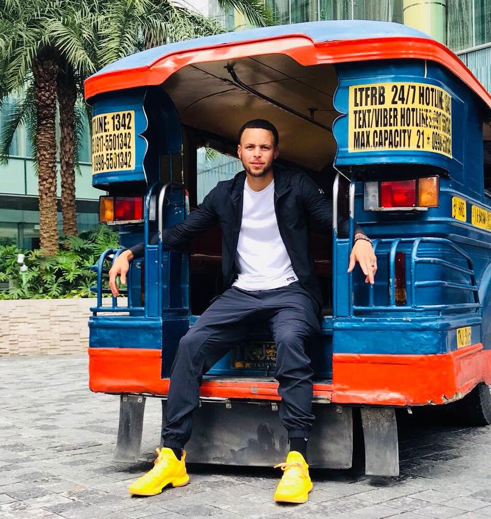 DIFFERENT KIND OF RIDE. Steph Curry gets to ride the jeepney in his second Philippine visit. Photo from Under Armour