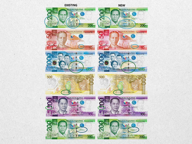 ENHANCED. A side by side comparison of the existing New Generation Currency (NGC) banknotes and the 'enhanced' ones. Images from the Bangko Sentral ng Pilipinas