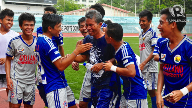 JUBILEE. Arellano's head coach, Saluria, celebrates with his boys. Photo by Bob Guerrero/Rappler