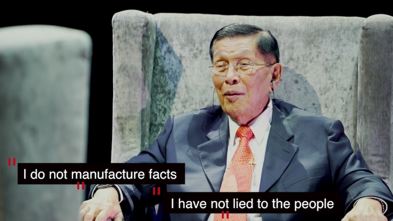 FACT OR FICTION? Juan Ponce Enrile talks to Ferdinand Marcos Jr in a two-part video titled 'JPE: A Witness to History.'