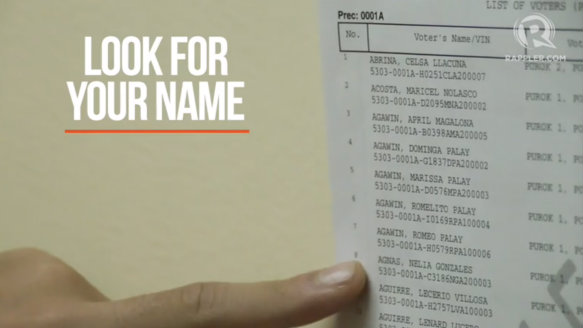 DOUBLE CHECK. To make sure, you are at the right place by looking for your name in the voters list posted near the precinct.