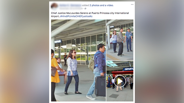 ORIGINAL POST. The source of the photos used by fake news did not state that Sereno left the country.