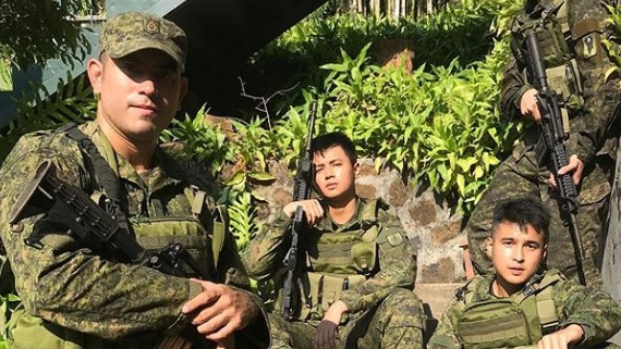 RESERVIST. Actor Gerald Anderson has graduated from a 3-day military training course. Photo from Yves Flores' Instagram account