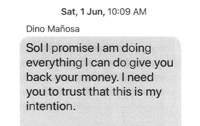 PERSONAL TEXT. Complainant Marisol Ramirez and Dino Mau00f1osa communicated through text messages in June 2019 as seen in this submission to the court