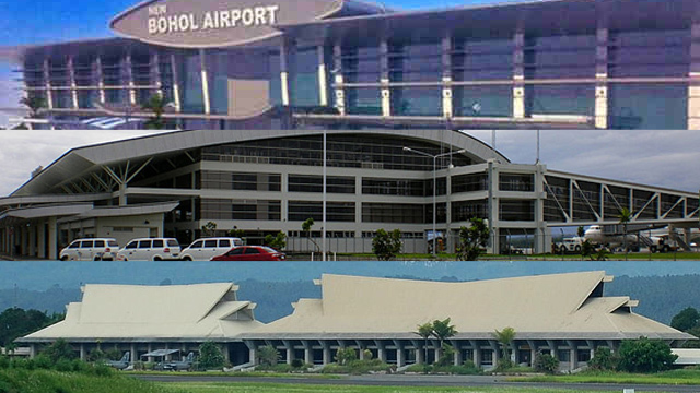 HANGING DEAL. The deal to modernize 5 regional airports is left hanging, with the implementing agency failing to set a date for its auction. Photos of Iloilo and Davao airports from Wikipedia