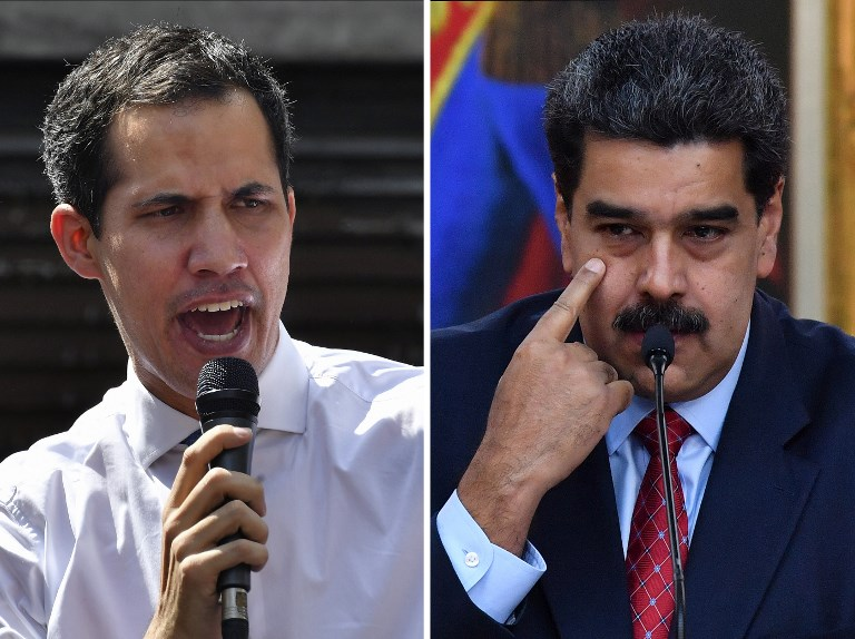 GUAIDO AND MADURO. A combination of file photos of Venezuela's National Assembly head Juan Guaido (left) and President Nicolas Maduro. Photo by Yuri Cortez/AFP