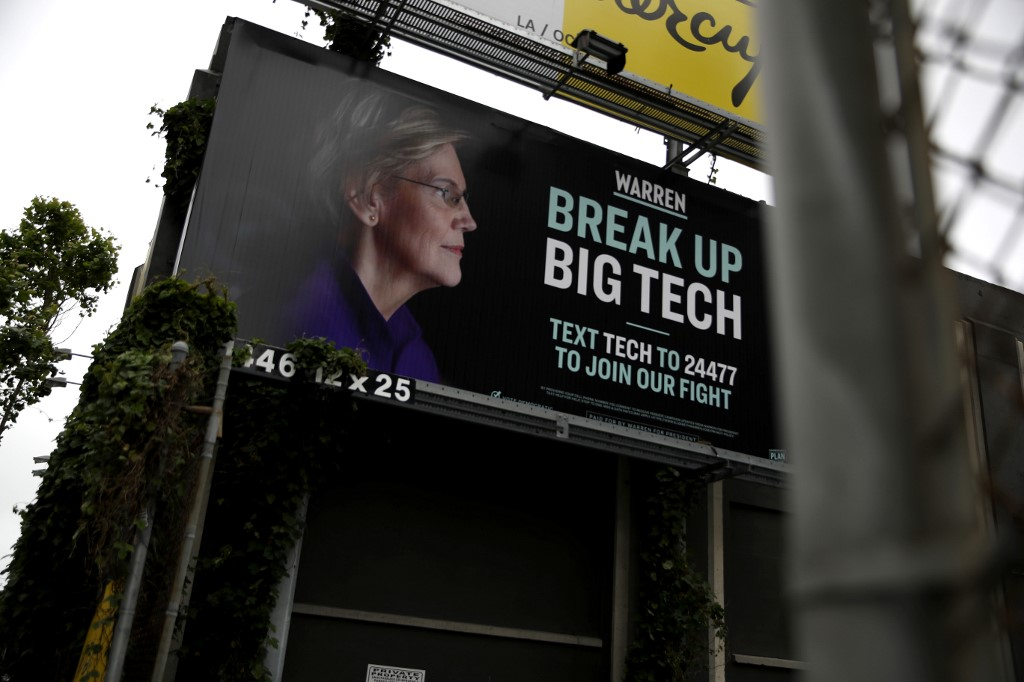 BIG TECH. he presidential campaign for U.S. Sen. Elizabeth Warren posted a billboard in the South of Market Area of San Francisco that calls for breaking up big tech. Photo by Justin Sullivan/Getty Images/AFP