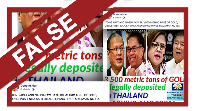 A screenshot of a claim on Facebook that says members of the opposition stole gold and shipped it to Thailand.