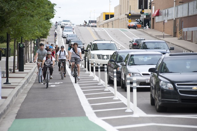 COASTING ALONG CHICAGO. Two-wheeled travel is more fun in a protected bike lane. Photo courtesy of the Chicago Department of Transportation