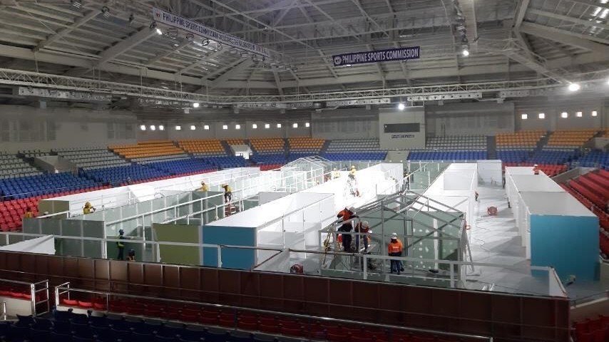NINOY AQUINO STADIUM. The sports arena has been converted into a temporary health care facility for COVID-19 patients who are asymptomatic, or with mild to moderate symptoms. Photo courtesy of Smart Communications