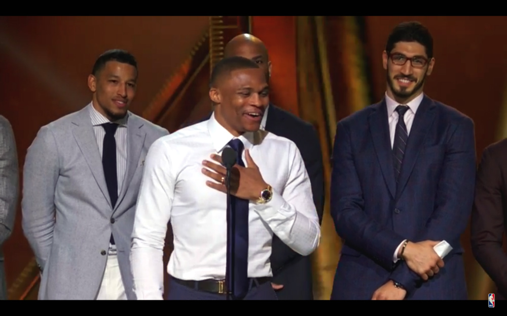 EMOTIONAL. Russell Westbrook pours his heart out during an emotional speech after being honored as the 2017 NBA MVP. Screengrab from NBA video