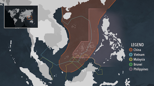 NINE-DASH LINE. The orange portion in this map shows China's expansive claim to the South China Sea using its 9-dash line, struck down as invalid by a 2016 international ruling