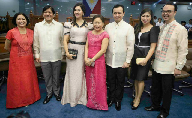 SPLIT PARTY? Three NP senators are running against each other for vice president: Marcos (2nd from left), Trillanes (5th from left), and Cayetano (rightmost). File photo from Marcos' Facebook page