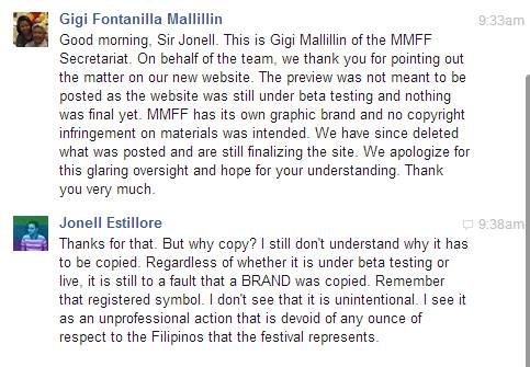 OVERSIGHT. A certain Gigi Mallillin from the MMFF Secretariat says the design was not meant to be posted. Screenshot from Jonell Estillore