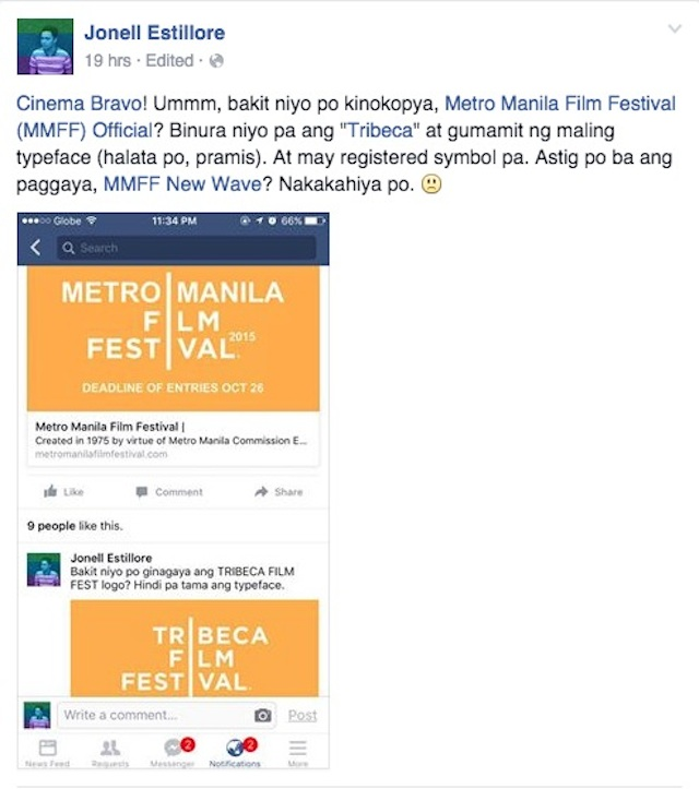 COPIED? Film reviewer Jonell Estillore posts a screenshot of the MMFF logo, which bore a similar design to the Tribeca Film Festival logo. Screenshot from the Facebook page of Jonell Estillore