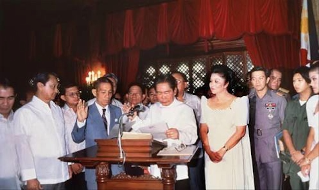 SAME VENUE. Strongman Ferdinand Marcos takes his oath as president in 1986. Photo from Manolo Quezon's Facebook page