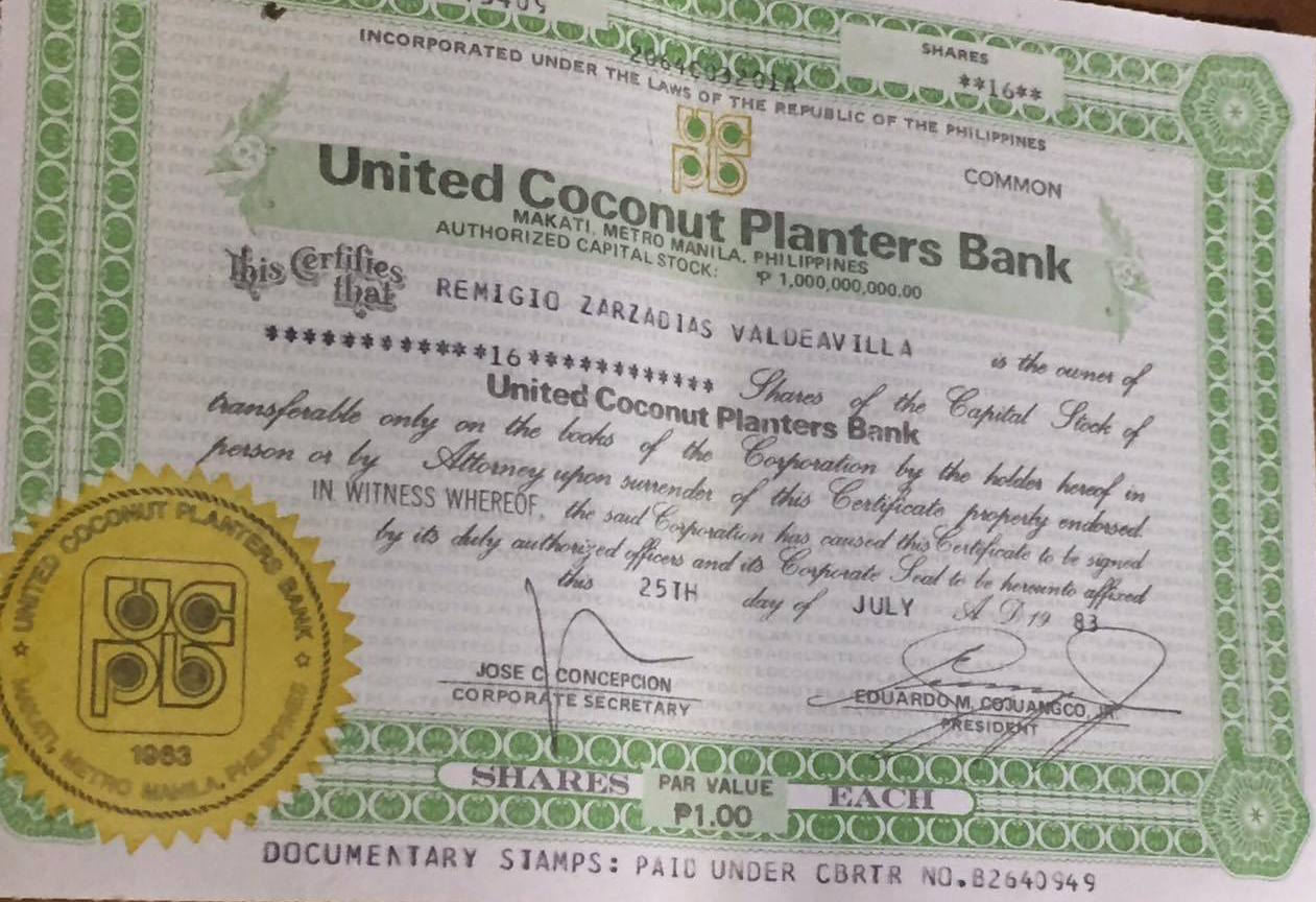 UCPB. This shows Aling Rosing's husband had minute shares in the UCPB while big time businessmen and allies of former president Ferdinand Marcos had millions of stocks in several coco levy companies. Photo by Camille Elemia/Rappler