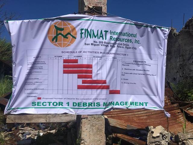 FIRST PHASE. FINMAT International Resources Inc is in charge of debris clearing for 'sector 1' of the Marawi Most Affected Area. Photo by Martin San Diego/Rappler
