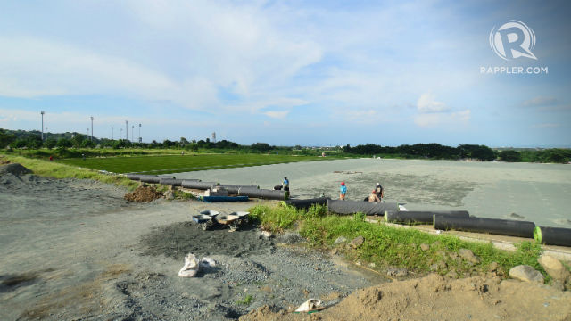 IN THE WORKS. The FIFA pitch under construction. Photo by Bob Guerrero/Rappler
