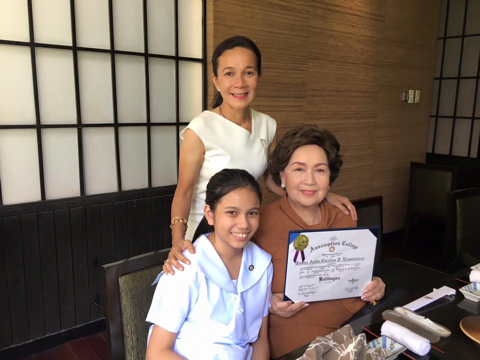 CELEBRATION. Poe with mother Susan Roces celebrating the graduation of daughter Anika, amid a heated presidential race. Photo by Gary Jimenez