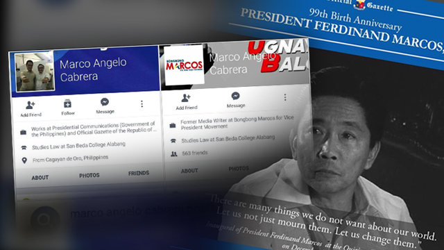 CONFLICT? A former campaign staff of ex-Senator Ferdinand Marcos Jr, who is now working for the Presidential Communications Office, is linked to the seemingly 'pro-Marcos' post of the Official Gazette.
