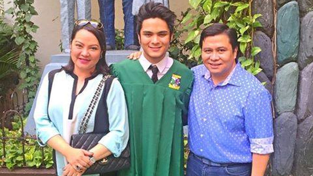 GRADUATION. Estrada poses with wife Precy and son Julian who graduated from high school. Photo from Estrada's Facebook page