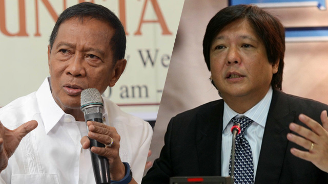 MOVING ON? Vice President Jejomar Binay explains his preference for Senator Bongbong Marcos as his running mate by saying, 'Let's move on.' File photo