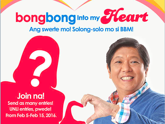 V-DAY DATE. The winner will get an 'exclusive' chance to dine with vice presidential candidate Ferdinand Marcos Jr/ Photo from the contest's log in page
