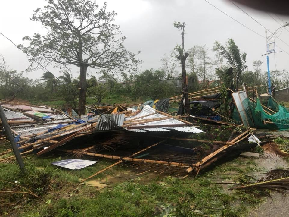 FLATTENED. Typhoon Rosita topples structures made of light materials in Ilagan City. Photo by Fr Grevie Uanan