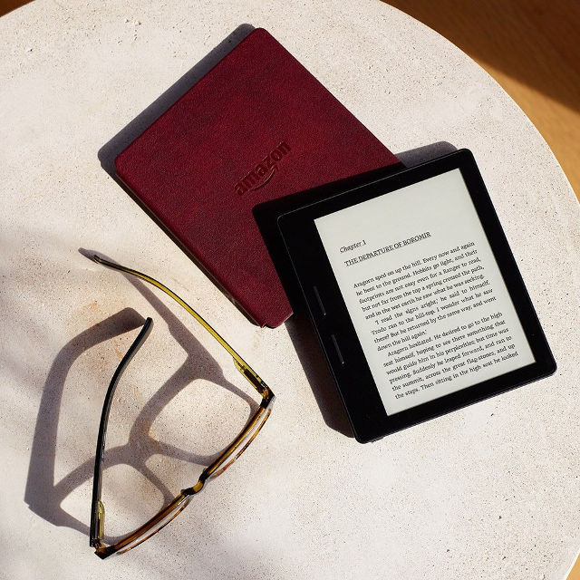 AMAZON'S NEW KINDLE. The Kindle Oasis, the 8th generation e-reader from Amazon, will be available April 27 starting at $290 for US customers. Image from Amazon
