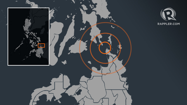 Epicenter of 6.7-magnitude earthquake, based on report by Phivolcs
