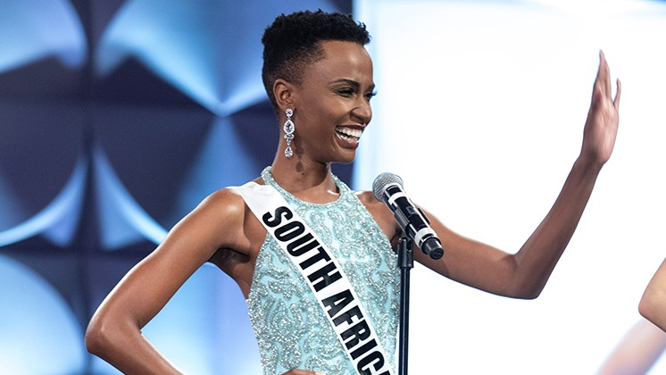 Qu0026A. Zozibini Tunzi, Miss South Africa, and the rest of the top 5 Miss Universe 2019 finalists shared their answers on stage. Photo courtesy of HO/The Miss Universe Organization