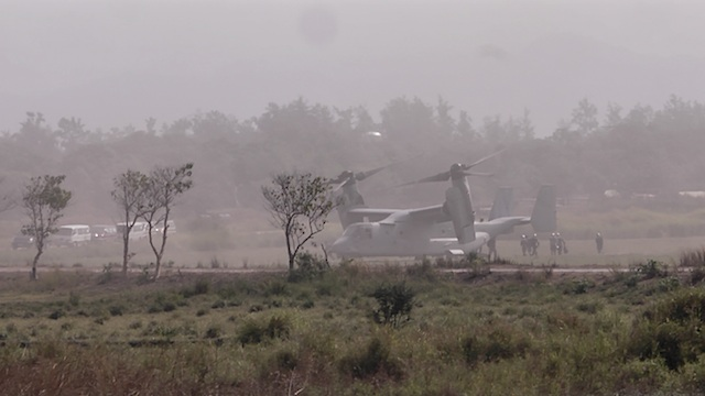 CRUCIAL ASSET: The American Osprey is a half-plane and half-chopper. It's capable of long range flights but doesn't need a runway because it lands vertically like a chopper. It transported officials and troops to the venue of the Balikatan war games