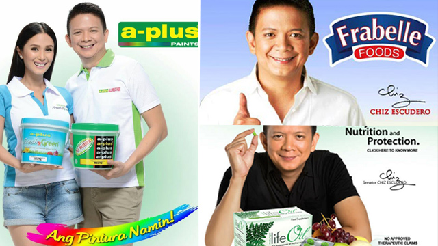 PRODUCTS. Sen. Chiz Escudero's commercial endorsements. Photos from respective product's Facebook pages