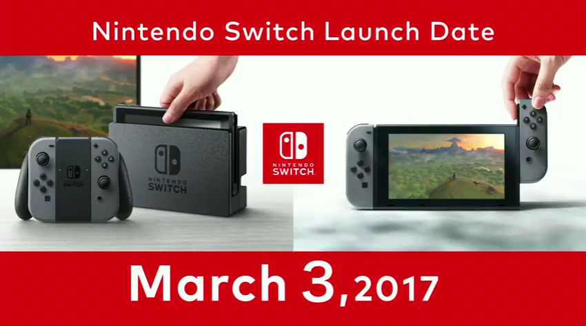 LAUNCH DATE. Nintendo's launch date for the Switch game console. Screen shot from livestream.