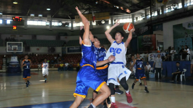 The UC Junior Webmasters try to stop CEC Dragons' Harvey Kent Sanchez in this piece of action in the HS competition of the 16th Cesafi Season. PJ ESTAN