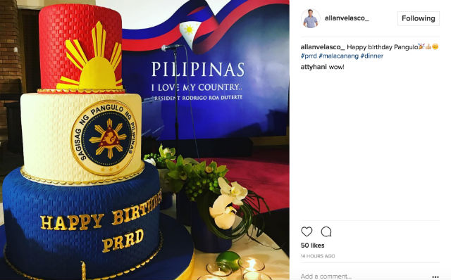 FOR DUTERTE. Velasco posts a picture of the birthday cake he and his wife prepared for the President. Screengrab from Velasco's Instagram account