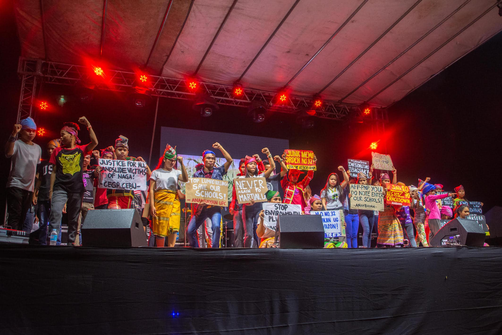 The Lumad calls to stop the attacks during their theatrical performance. Photo courtesy of UP Cebu Cookout 2019