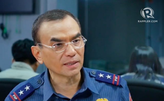 PREVENTION. NCRPO chief Major General Guillermo Eleazar says the index crime rate is significantly lower. Screenshot from Rappler video