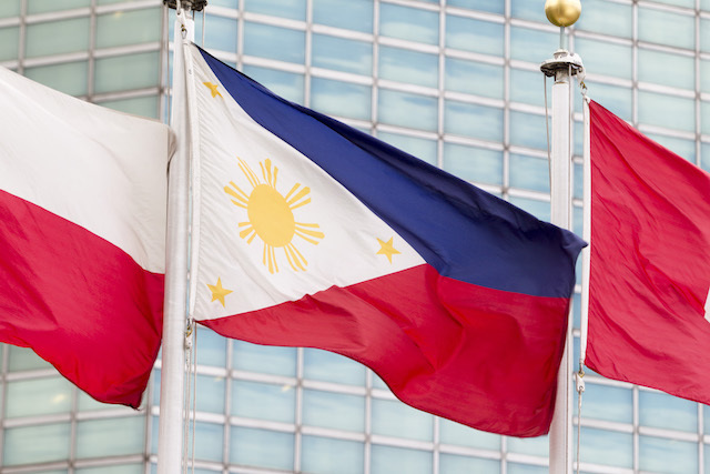 NOTICE TO UNITED NATIONS. The flag of the Republic of the Philippines (center) flying at UN headquarters in New York, July 14, 2016. File photo by Loey Felipe/UN Photo